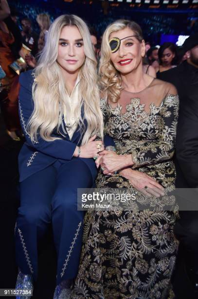 Recording artist Kesha and mother Pebe Sebert attend the 60th Annual GRAMMY Awards at Madison Square Garden on January 28 2018 in New York City