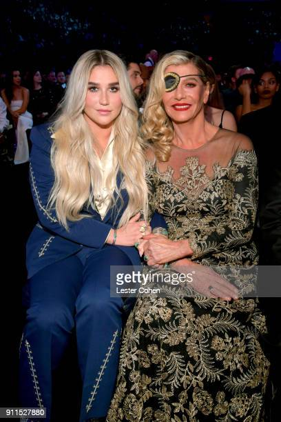 Recording artist Kesha and Pebe Sebert attend the 60th Annual GRAMMY Awards at Madison Square Garden on January 28 2018 in New York City