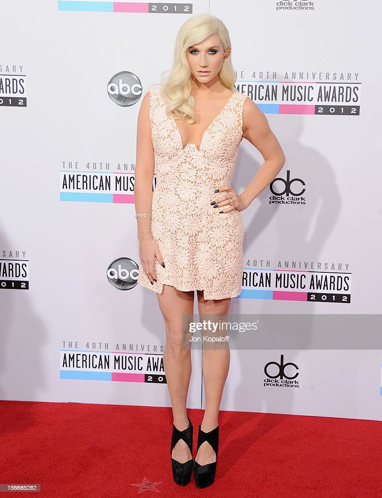 Recording artist Kesha arrives at The 40th American Music Awards at Nokia Theatre L.A. Live on November 18, 2012 in Los Angeles, California.