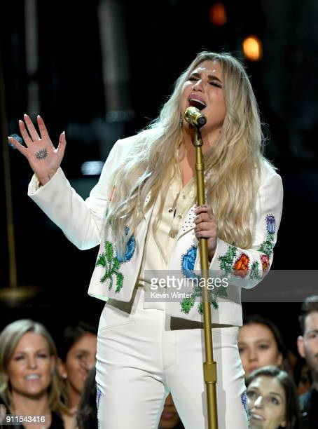 Recording artist Kesha performs onstage during the 60th Annual GRAMMY Awards at Madison Square Garden on January 28 2018 in New York City