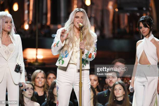 Recording artist Kesha performs onstage with Cyndi Lauper and Camila Cabello during the 60th Annual GRAMMY Awards at Madison Square Garden on January...