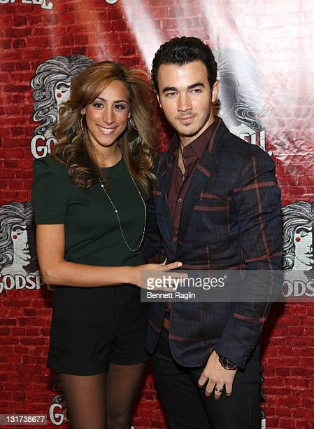 Recording artist Kevin Jonas and Danielle Deleasa attends the opening night of Broadway's Godspell at the Circle in the Square Theatre on November 7...