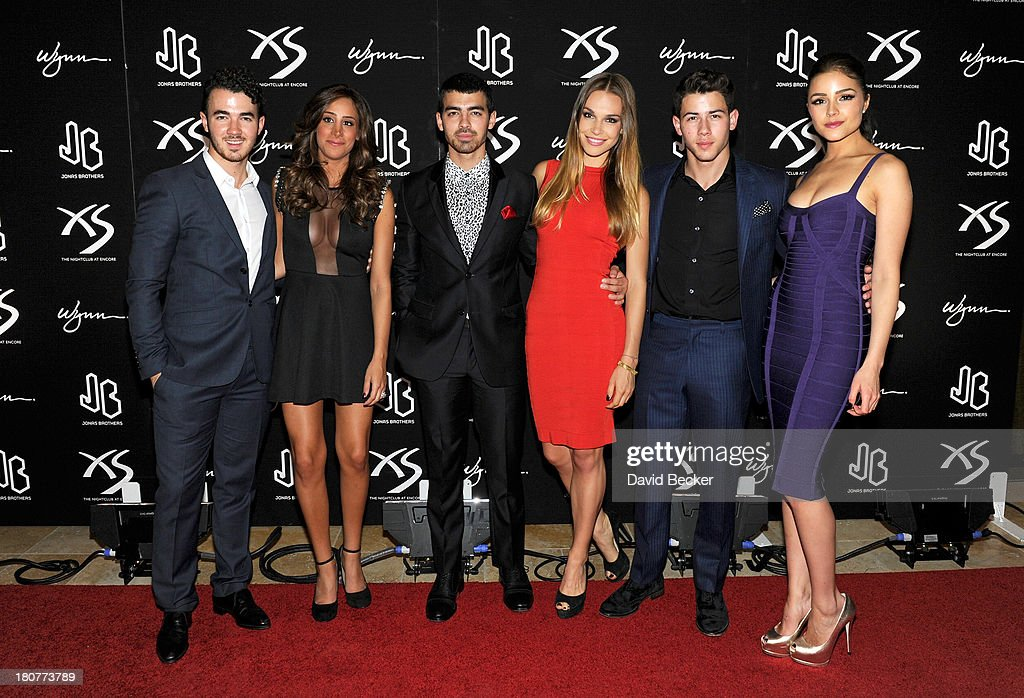 Recording artist Kevin Jonas, Danielle Jonas, recording artist Joe Jonas, model Blanda Eggenschwiler, recording artist Nick Jonas and Miss Universe 2012 Olivia Culpo arrive at XS The Nightclub at Encore Las Vegas to celebrates Nick Jonas's 21st birthday on September 16, 2013 in Las Vegas, Nevada.