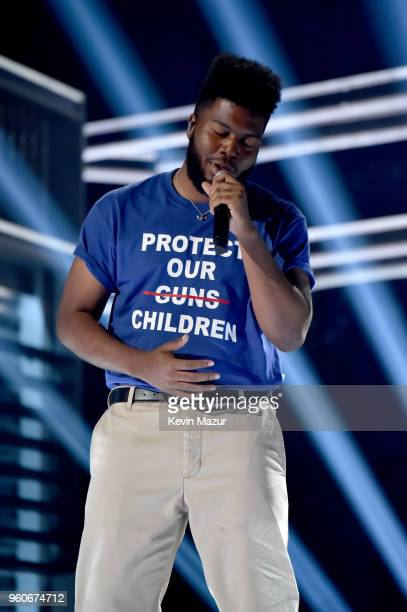 Recording artist Khalid performs onstage at the 2018 Billboard Music Awards at MGM Grand Garden Arena on May 20 2018 in Las Vegas Nevada