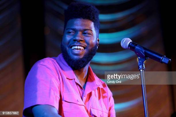 Recording artist Khalid performs onstage during Khalid performance at Nielsen PreGrammy Bash at The Pool on January 26 2018 in New York City
