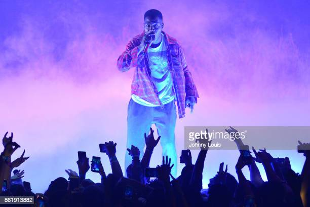 "Recording artist Kid Cudi performs on stage during the ""Kid Cudi-passion, Pain & Demon Slayin' Tour"" at James L. Knight Center on October 15, 2017 in..."