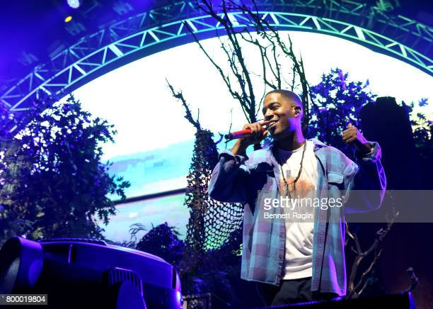 Recording artist Kid Cudi performs onstage at night one of the 2017 BET Experience STAPLES Center Concert, sponsored by Hulu, at Staples Center on...