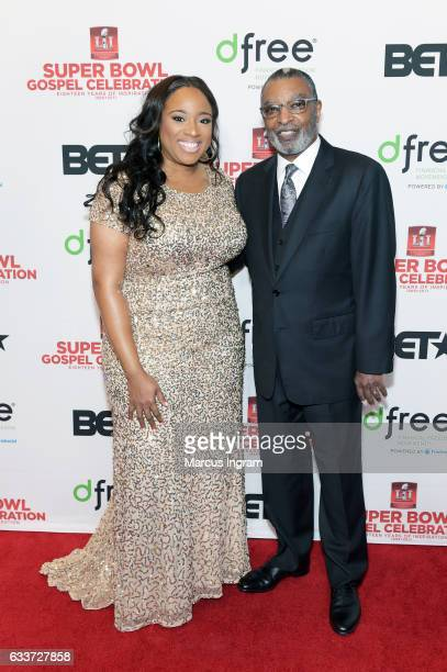 Recording artist Kierra Sheard and pastor/author Dr DeForest B Soaries Jr attend the BET Presents Super Bowl Gospel Celebration at Lakewood Church on...