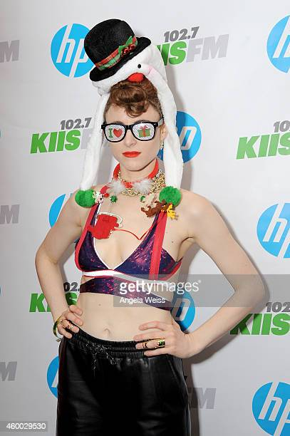 Recording artist Kiesza attends KIIS FM's Jingle Ball 2014 powered by LINE gifting lounge at Staples Center on December 5 2014 in Los Angeles...