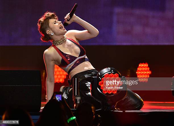 Recording artist Kiesza performs onstage during KIIS FM's Jingle Ball 2014 powered by LINE at Staples Center on December 5 2014 in Los Angeles...