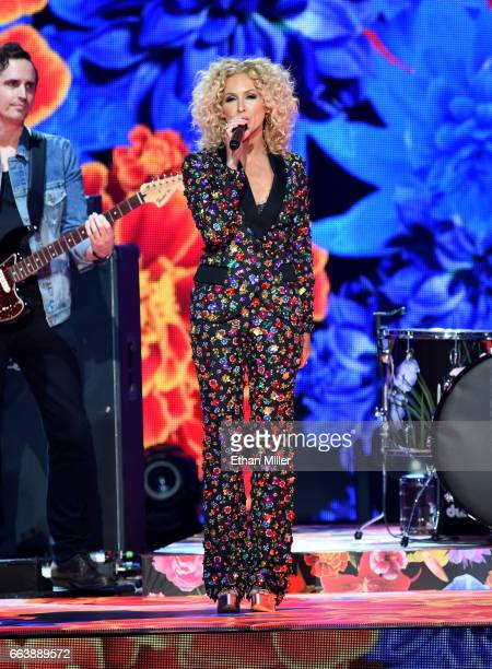 Recording artist Kimberly Schlapman of music group Little Big Town performs onstage during the 52nd Academy of Country Music Awards at TMobile Arena...