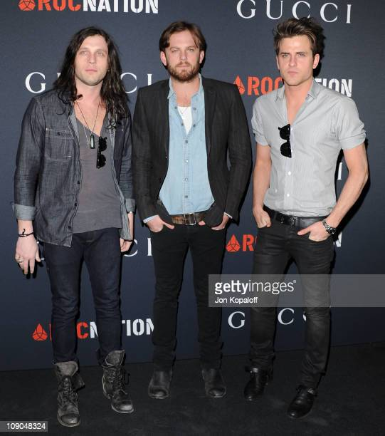 Recording Artist Kings of Leon Nathan Followill Caleb Followill and Jared Followill arrive at the Gucci And RocNation Host PreGrammy Brunch At Soho...
