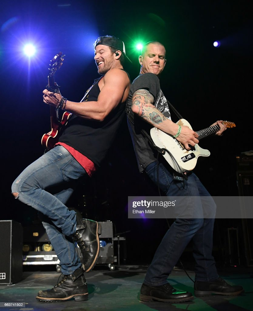 Recording artist Kip Moore (L) and guitarist Dave Nassie perform during the ACM Party For A Cause: The Joint at The Joint inside the Hard Rock Hotel & Casino on April 1, 2017 in Las Vegas, Nevada.