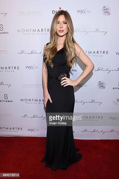 Recording artist Kristine Elezaj attends the Pia Gladys Perey Spring/Summer 2016 Fashion Show at Sofitel Hotel on October 23 2015 in Los Angeles...