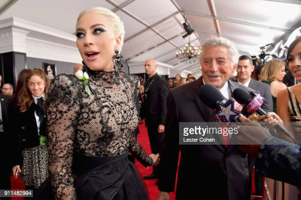 Recording artist Lady Gaga and recording artist Tony Bennett attend the 60th Annual GRAMMY Awards at Madison Square Garden on January 28 2018 in New...