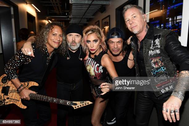 Recording artist Lady Gaga and recording artists Kirk Hammett Lars Ulrich Robert Trujillo and James Hetfield of music group Metallica attend The 59th...