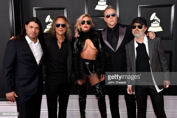 Recording artist Lady Gaga and recording artists Robert Trujillo Kirk Hammett James Hetfield and Lars Ulrich of music group Metallica attend The 59th...