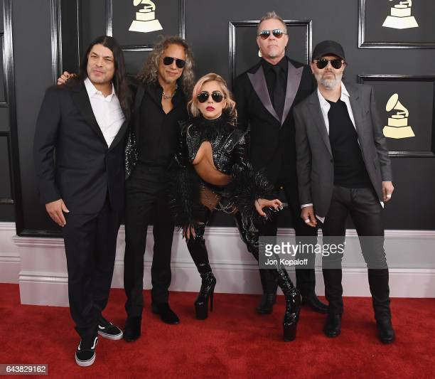 Recording artist Lady Gaga and recording artists Robert Trujillo Kirk Hammett James Hetfield and Lars Ulrich of music group Metallica arrive at the...