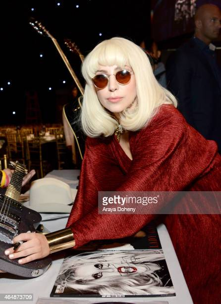 Recording artist Lady Gaga attends the 2014 MusiCares Person of the Year rehearsals VIP gifting and auction signings at the Los Angeles Convention...