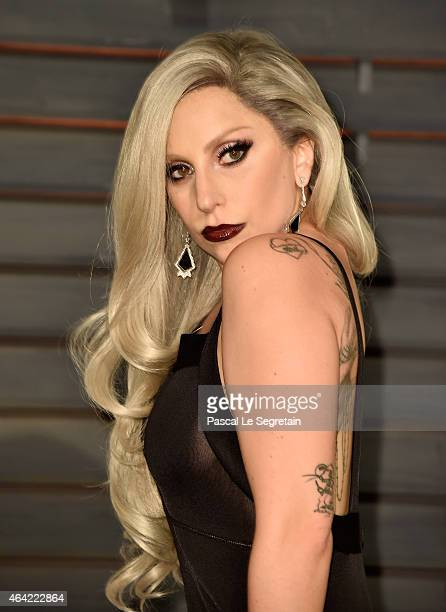 Recording artist Lady Gaga attends the 2015 Vanity Fair Oscar Party hosted by Graydon Carter at Wallis Annenberg Center for the Performing Arts on...