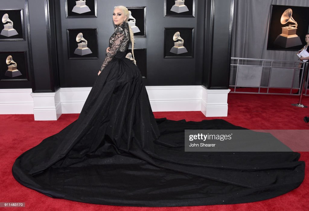 On the 60th Annual GRAMMY Awards red carpet