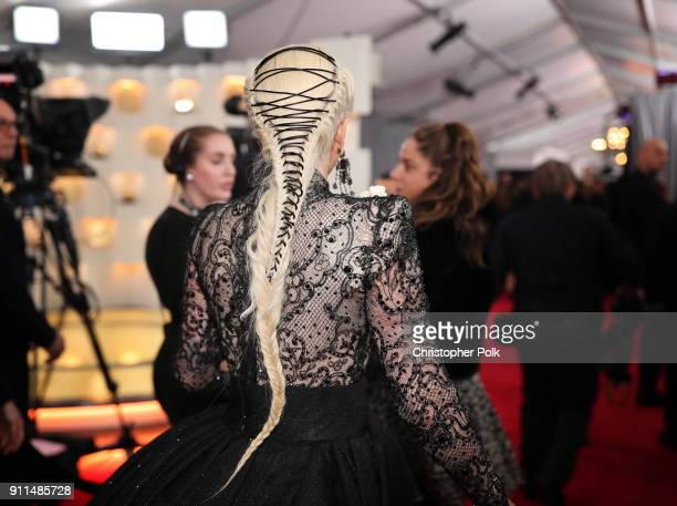 Recording artist Lady Gaga hair detail attends the 60th Annual GRAMMY Awards at Madison Square Garden on January 28 2018 in New York City