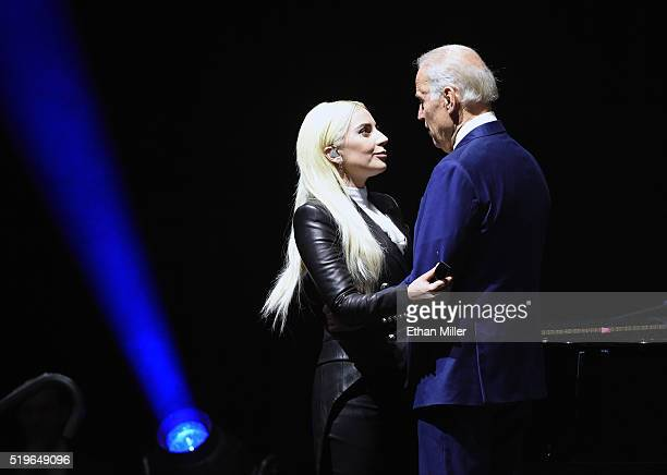 Recording artist Lady Gaga is greeted by US Vice President Joe Biden after she performed for students as part of the national It's On Us Week of...