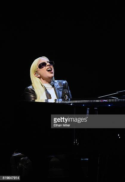 Recording artist Lady Gaga performs for students as part of the national It's On Us Week of Action with US Vice President Joe Biden at the Cox...