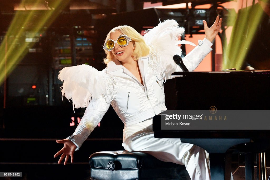 Recording artist Lady Gaga performs onstage during 60th Annual GRAMMY Awards - I'm Still Standing: A GRAMMY Salute To Elton John at the Theater at Madison Square Garden on January 29, 2018 in New York City.
