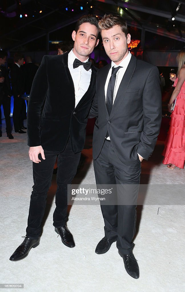 Recording artist Lance Bass (R) and actor Michael Turchin attend Grey Goose at 21st Annual Elton John AIDS Foundation Academy Awards Viewing Party at West Hollywood Park on February 24, 2013 in West Hollywood, California.