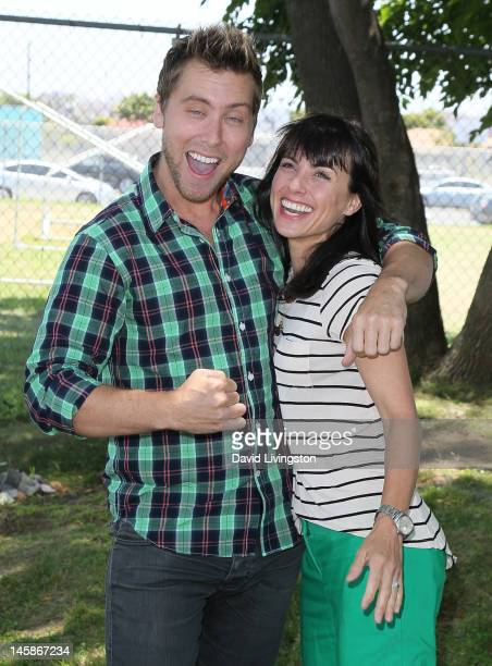 Recording artist Lance Bass and actress Constance Zimmer attend the Environmental Media Association's 3rd Annual Garden Luncheon at Carson Senior...