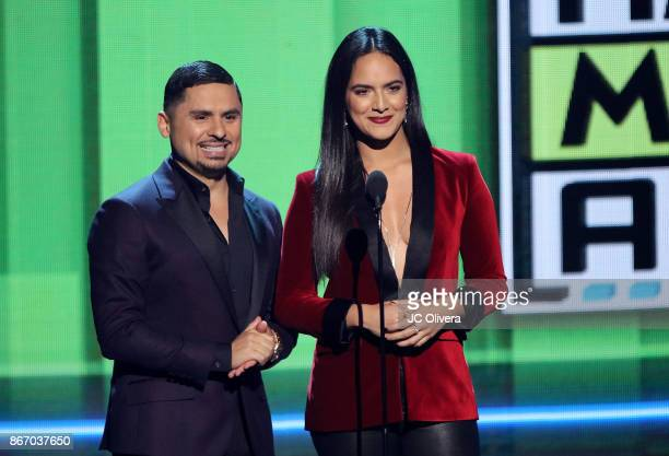 Recording artist Larry Hernandez and Ana Lorena Sanchez speak onstage during the 2017 Latin American Music Awards at Dolby Theatre on October 26 2017...