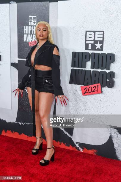 Recording Artist Latto arrives to the 2021 BET Hip Hop Awards at Cobb Energy Performing Arts Centre on October 01, 2021 in Atlanta, Georgia.