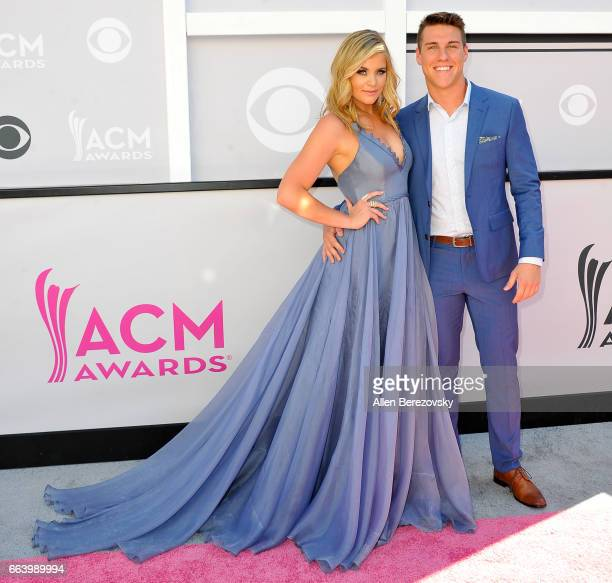 Recording artist Lauren Alaina and Alex Hopkins arrive at the 52nd Academy Of Country Music Awards on April 2 2017 in Las Vegas Nevada