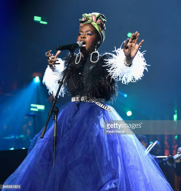 Recording artist Lauryn Hill pays tribute to Nina Simone during the 33rd Annual Rock Roll Hall of Fame Induction Ceremony at Public Auditorium on...