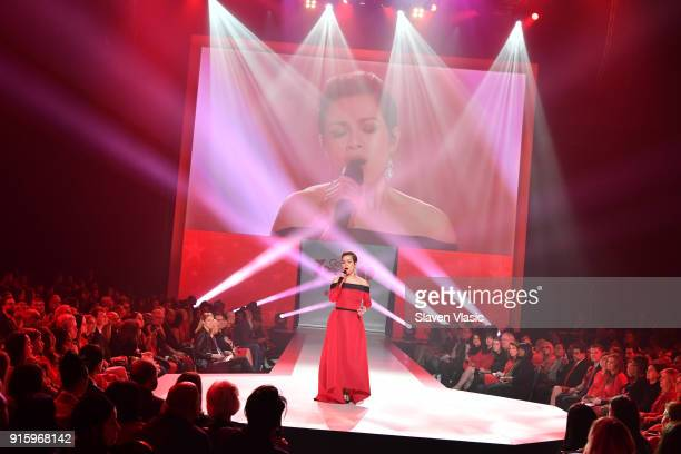 Recording artist Lea Salonga on stage at the American Heart Association's Go Red For Women Red Dress Collection 2018 presented by Macy's at...