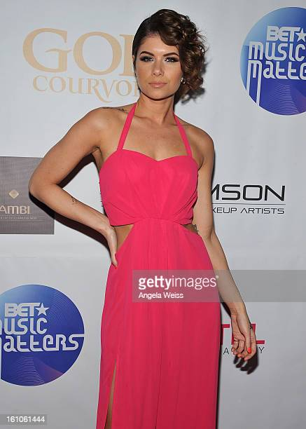 """Recording artist Leah Labelle arrives at BET Network's Music Matters Showcase """"Lipstick On The Mic"""" at Belasco Theatre on February 8, 2013 in Los..."""