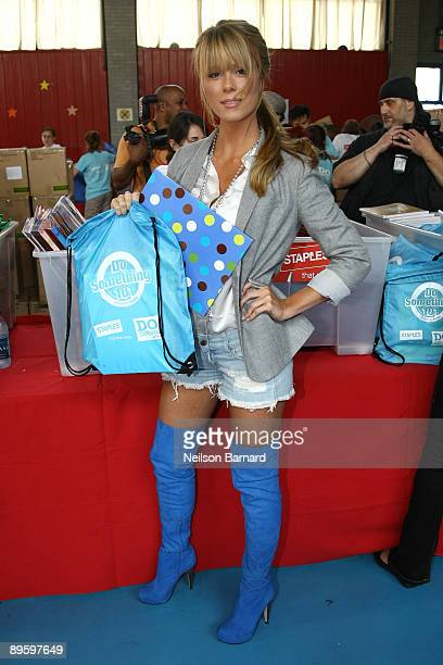 Recording artist Leah Renee attends the Staples Do Something 101 School Supply Drive at Children's Aid Society Dunlevy Milbank Boys and Girls Club on...