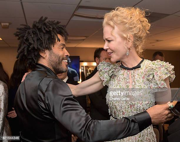 Recording artist Lenny Kravitz and actress Nicole Kidman pose in the green room during the Hollywood Film Awards on November 6 2016 in West Hollywood...