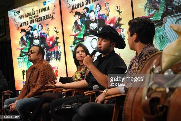 Recording artist Leonardo Aguilar speaks during a press conference for the upcoming Tour 'Pepe Aguilar y Familia presentan Jaripeo Sin Fronteras'...
