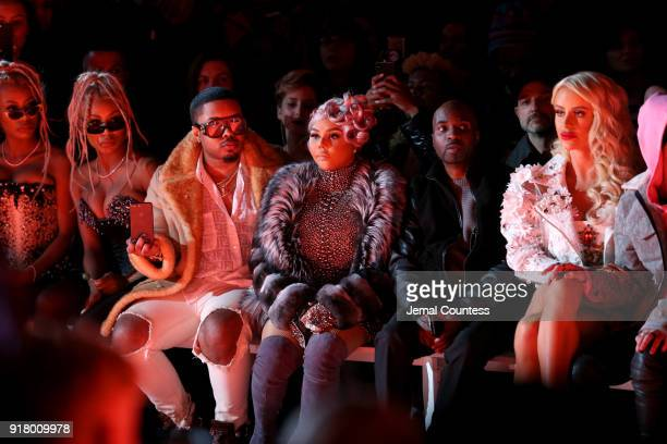Recording artist Lil' Kim attends The Blonds front row during New York Fashion Week The Shows at Gallery I at Spring Studios on February 13 2018 in...