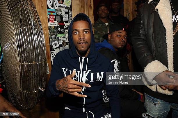 Recording artist Lil Reese backstage at Webster Hall on January 12 in New York City