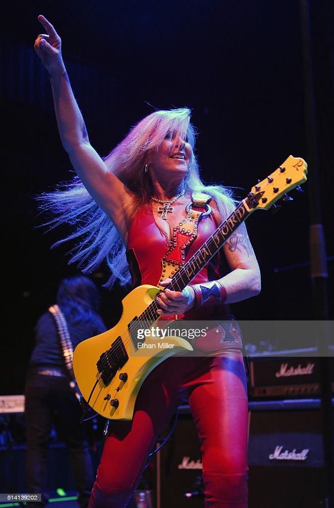 Recording artist Lita Ford performs at Brooklyn Bowl Las Vegas at The LINQ Promenade on March 6, 2016 in Las Vegas, Nevada.