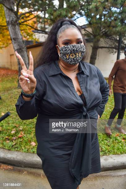 Recording Artist Lizzo makes an appearance at a campaign event for Democratic Presidential Candidates Joe Biden and Kamala Harris at Focus Hope...