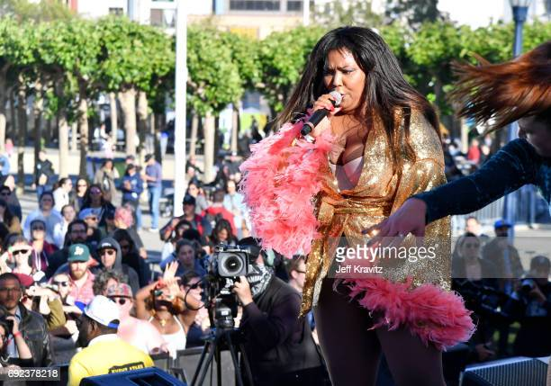 Recording artist Lizzo performs onstage at the Piazza Del Cluster Stage during Colossal Clusterfest at Civic Center Plaza and The Bill Graham Civic...