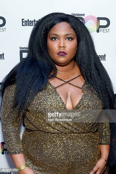 Recording artist Lizzo poses backstage at Entertainment Weekly's PopFest at The Reef on October 29, 2016 in Los Angeles, California.