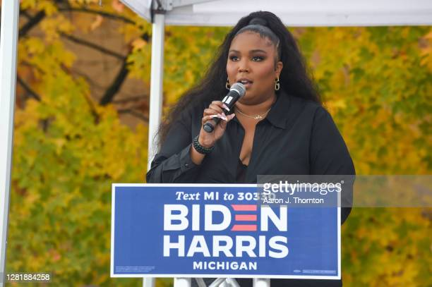 Recording Artist Lizzo speaks onstage during a campaign event for Democratic Presidential Candidates Joe Biden and Kamala Harris at Focus Hope...
