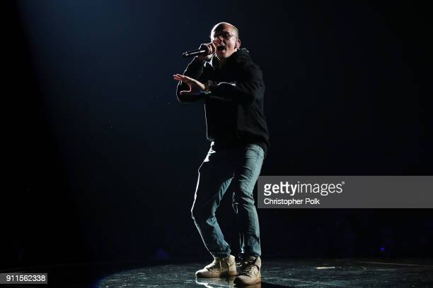 Recording artist Logic performs onstage at the 60th Annual GRAMMY Awards at Madison Square Garden on January 28 2018 in New York City