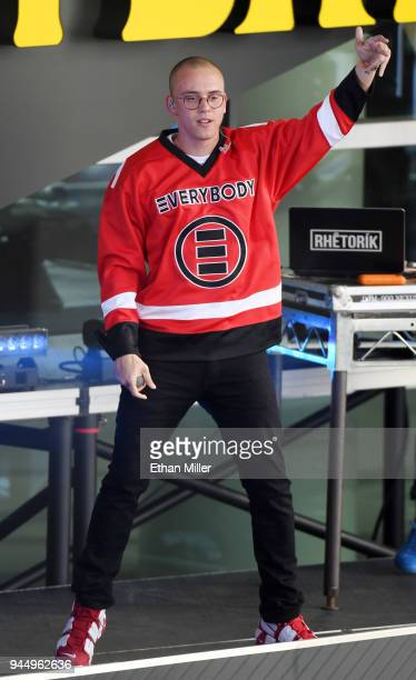 Recording artist Logic performs to celebrate the NHL Stanley Cup playoffs opening night ahead of Game One of the Western Conference First Round...