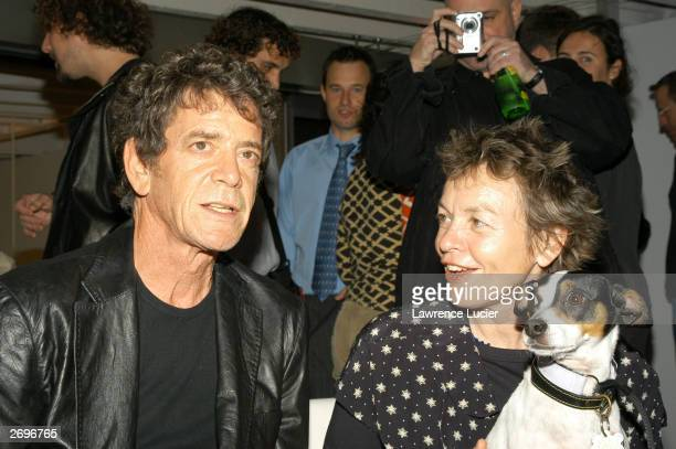 Recording artist Lou Reed and multimedia artist Laurie Anderson attend Interview Magazine and Adidas' celebration of the publication of Reed's photo...
